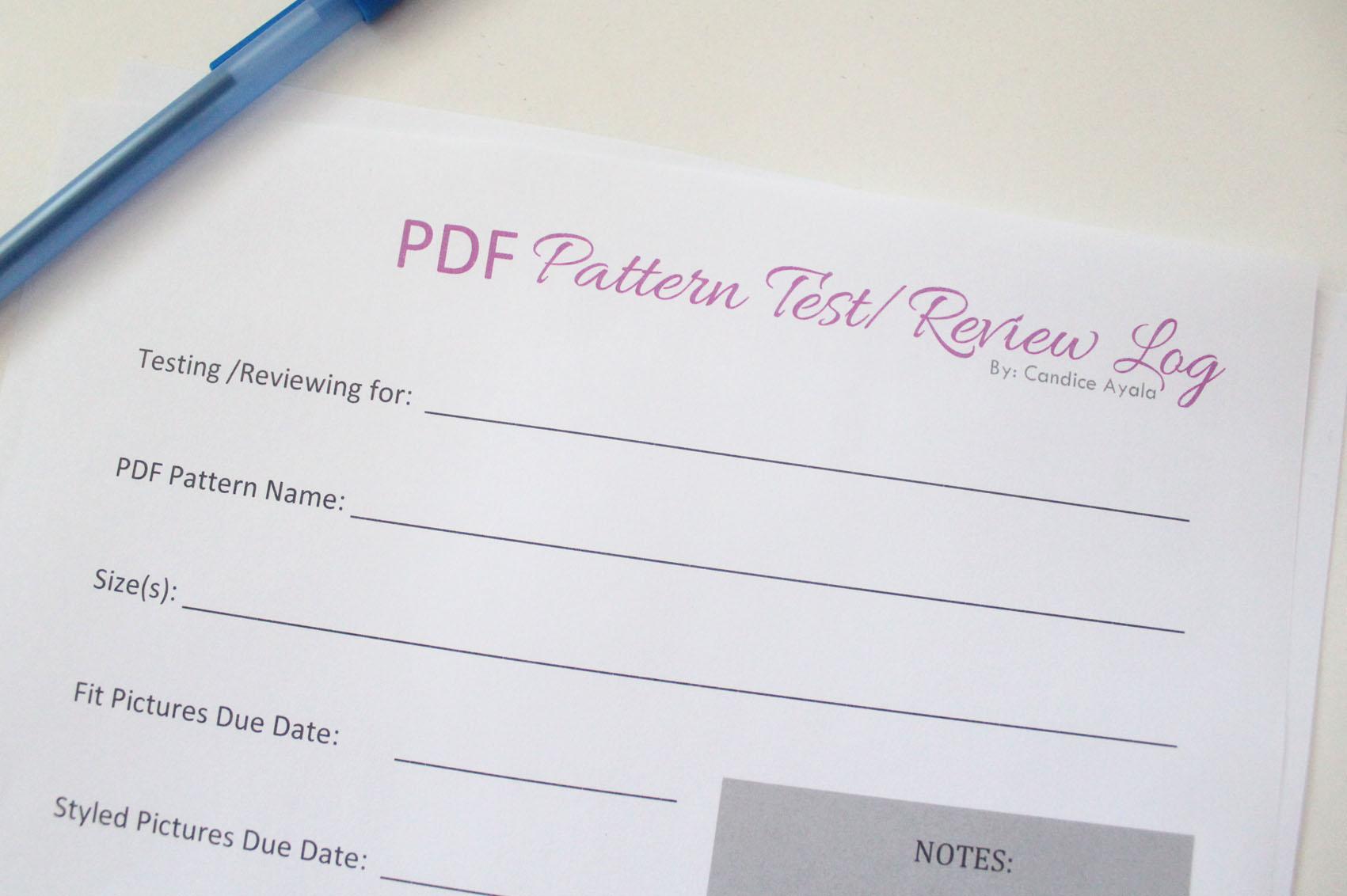 PDF Pattern Test/Review Log Sheet