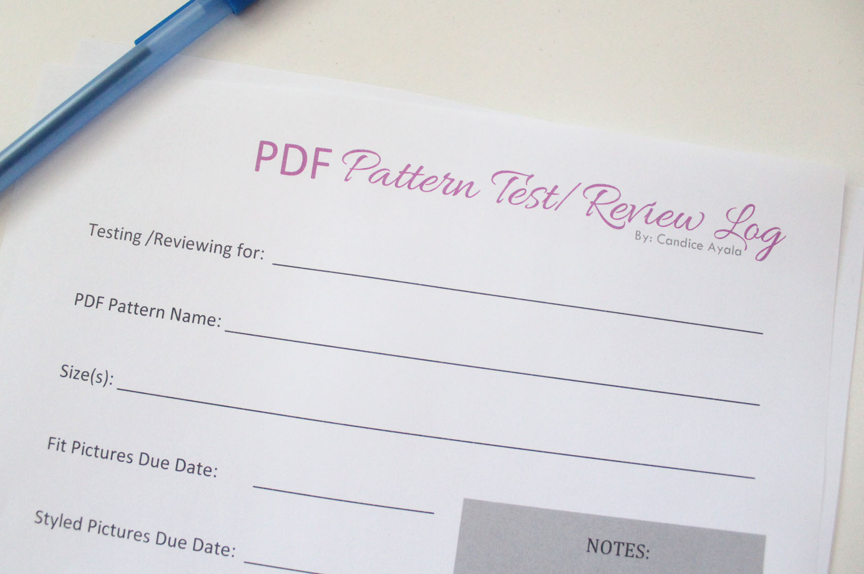 PDF Pattern Test/Review Log Sheet