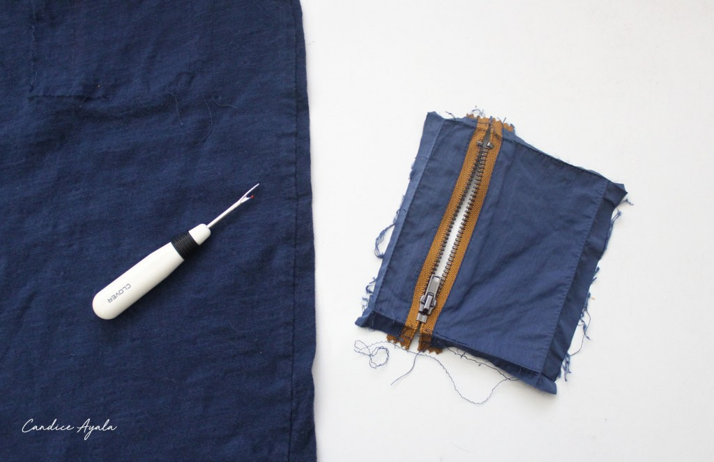 DIY Vertical Zipper Pocket Tutorial by Candice Ayala
